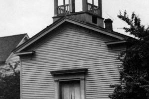 The original First United Methodist Church of Corvallis at Second and Van Buren Streets, built in 1855 and used until 1897.