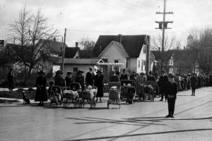 Methodist congregation marching towards the new church building March 16, 1924.