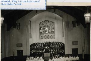 This shows the front of the sanctuary before the fire in 1977 which destroyed the window behind the choir.